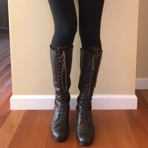 Nine west brown leather lace up boots